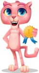Pink Panther Cartoon Vector Character - Winning prize