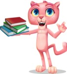 Pink Panther Cartoon Vector Character - with Books