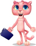 Pink Panther Cartoon Vector Character - with Briefcase