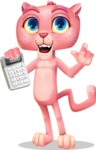 Pink Panther Cartoon Vector Character - with Calculator