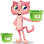 Pink Panther Cartoon Vector Character - with Sale boxes
