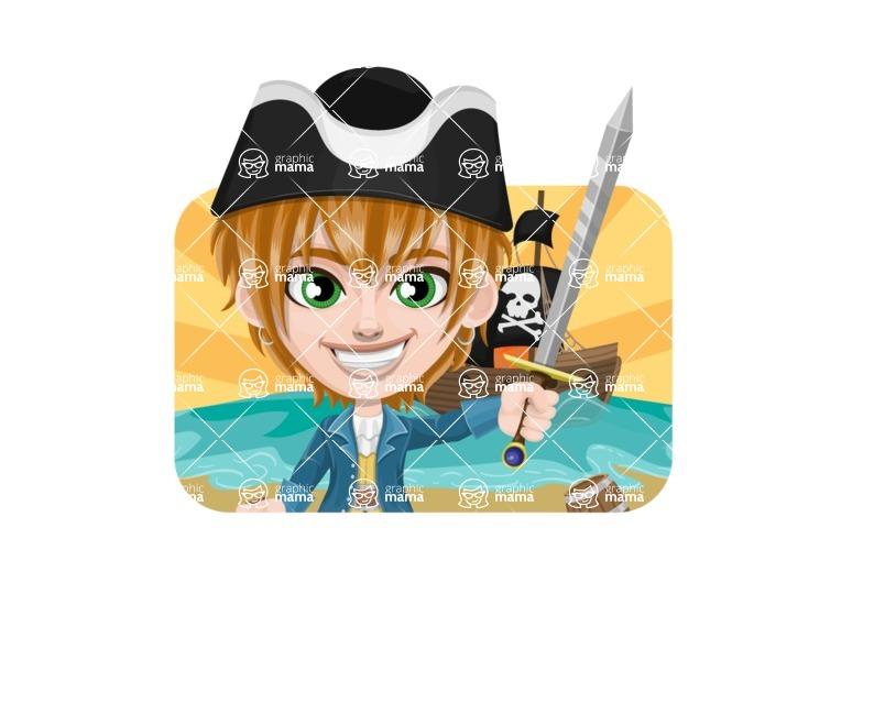 Pirate Boy Cartoon Vector Character AKA Willy - Shape 2