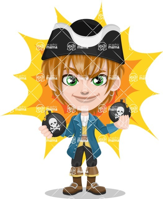 Pirate Boy Cartoon Vector Character AKA Willy - Shape 7