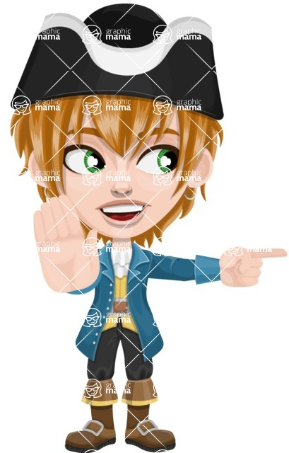 Pirate Boy Cartoon Vector Character AKA Willy - Direct Attention 2