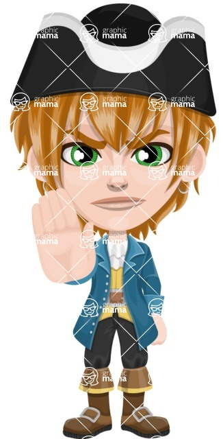 Pirate Boy Cartoon Vector Character AKA Willy - Stop