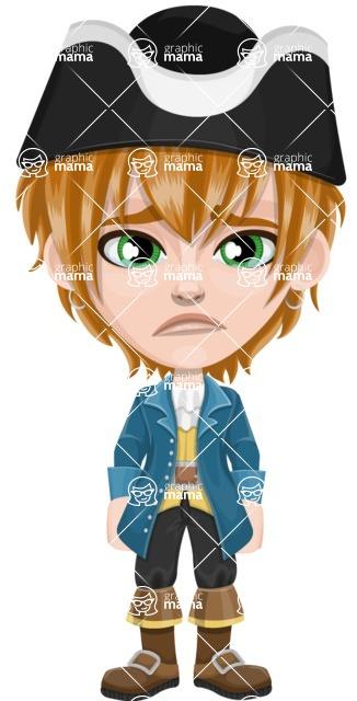 Pirate Boy Cartoon Vector Character AKA Willy - Sad