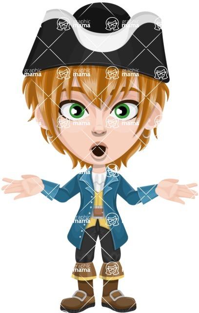 Pirate Boy Cartoon Vector Character AKA Willy - Shocked