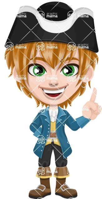 Pirate Boy Cartoon Vector Character AKA Willy - Attention