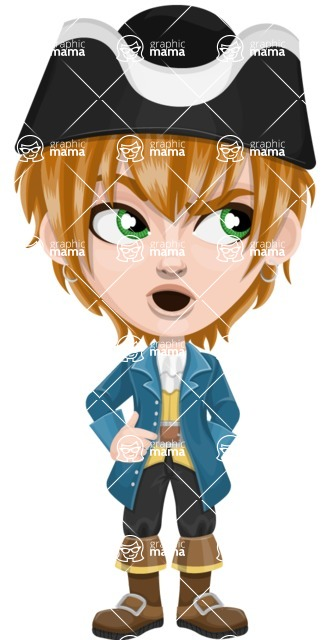 Pirate Boy Cartoon Vector Character AKA Willy - Rolls Eyes