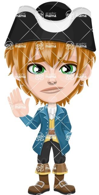 Pirate Boy Cartoon Vector Character AKA Willy - GoodBye