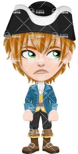 Pirate Boy Cartoon Vector Character AKA Willy - Bored 2