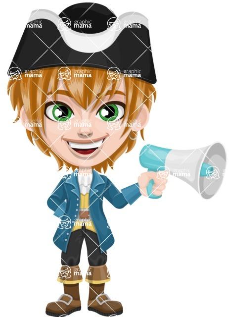 Pirate Boy Cartoon Vector Character AKA Willy - Loudspeaker