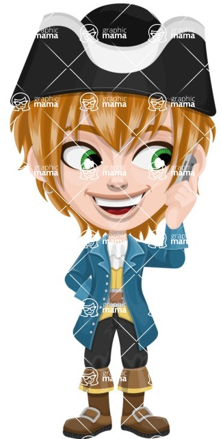 Pirate Boy Cartoon Vector Character AKA Willy - Support