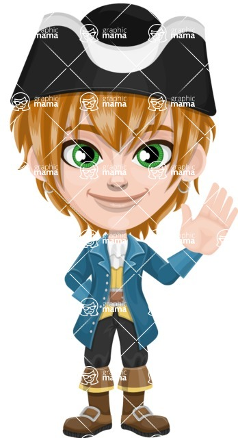 Pirate Boy Cartoon Vector Character AKA Willy - Wave