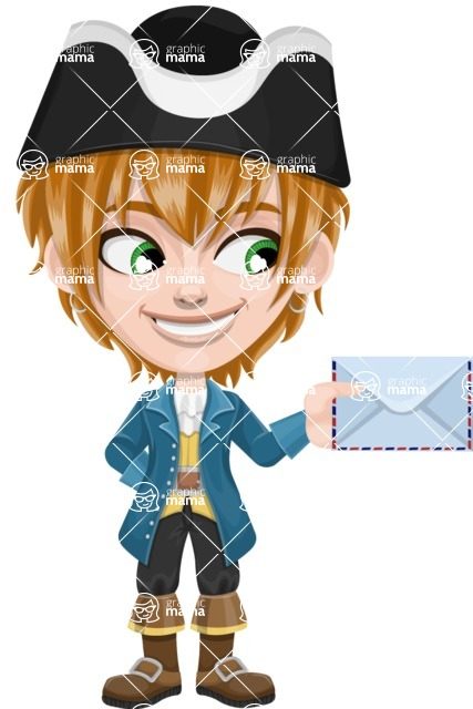 Pirate Boy Cartoon Vector Character AKA Willy - Letter