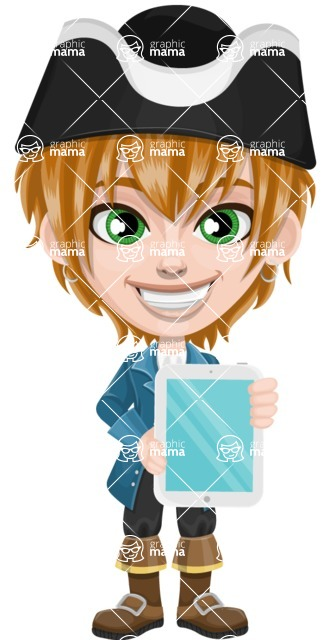 Pirate Boy Cartoon Vector Character AKA Willy - iPad 1