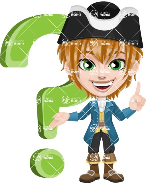 Pirate Boy Cartoon Vector Character AKA Willy - Question mark
