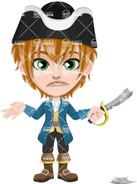 Pirate Boy Cartoon Vector Character AKA Willy - Under Construction