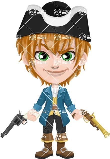 Pirate Boy Cartoon Vector Character AKA Willy - Gun 2