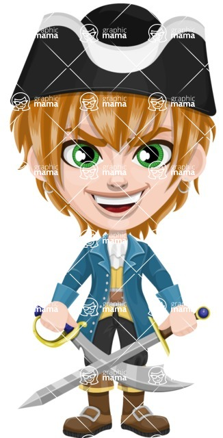 Pirate Boy Cartoon Vector Character AKA Willy - Sword 2