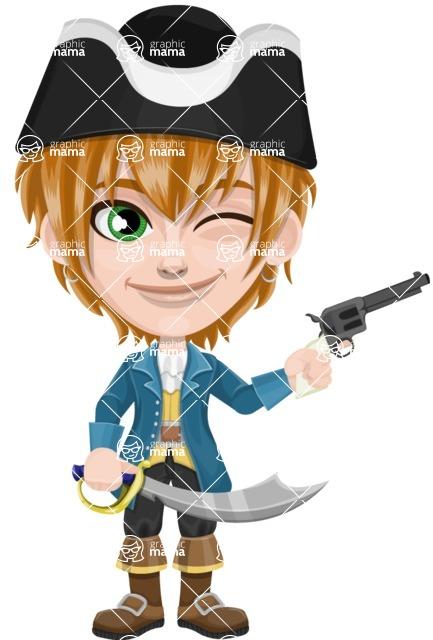 Pirate Boy Cartoon Vector Character AKA Willy - Sword and Gun