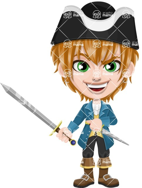 Pirate Boy Cartoon Vector Character AKA Willy - Sword and Dagger