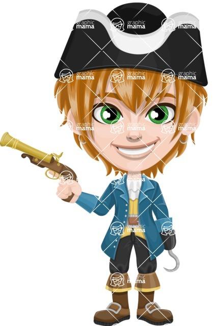Pirate Boy Cartoon Vector Character AKA Willy - Gun and Hook