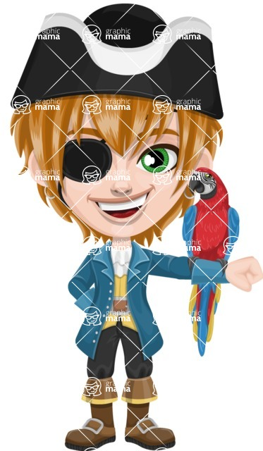 Pirate Boy Cartoon Vector Character AKA Willy - Eyepatch and Parrot