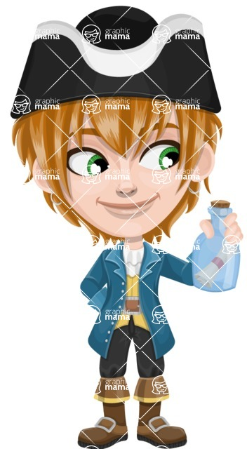 Pirate Boy Cartoon Vector Character AKA Willy - Map in a bottle