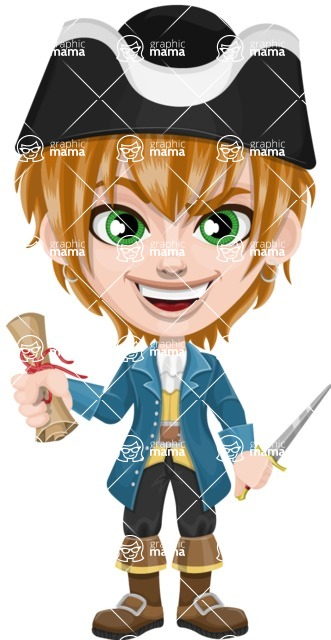 Pirate Boy Cartoon Vector Character AKA Willy - Map and Dagger
