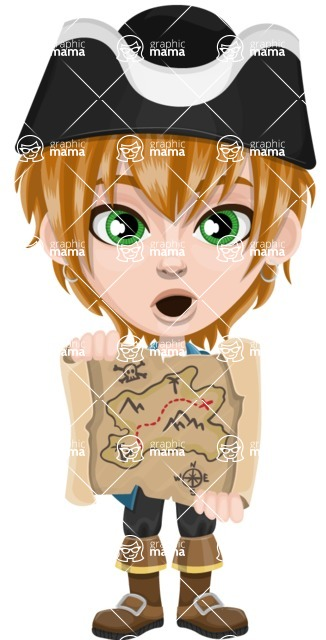 Pirate Boy Cartoon Vector Character AKA Willy - Open map