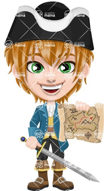 Pirate Boy Cartoon Vector Character AKA Willy - Sword and Open map