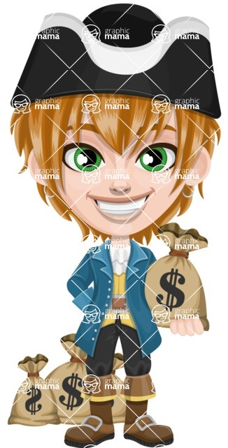 Pirate Boy Cartoon Vector Character AKA Willy - Bag of money
