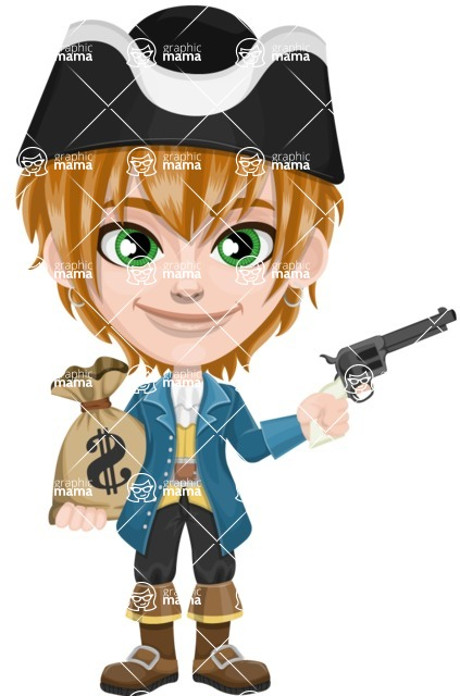 Pirate Boy Cartoon Vector Character AKA Willy - Bag of money and Gun