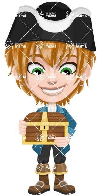 Pirate Boy Cartoon Vector Character AKA Willy - Treasure chest 1