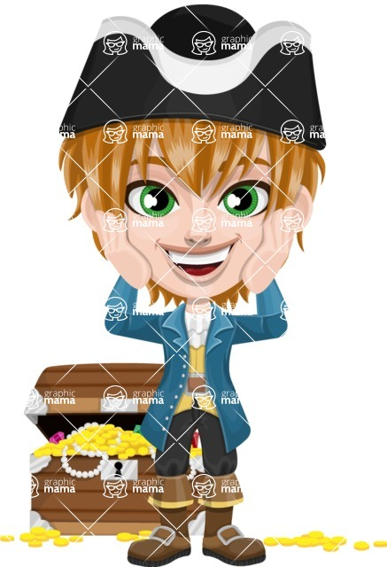 Pirate Boy Cartoon Vector Character AKA Willy - Treasure chest 2