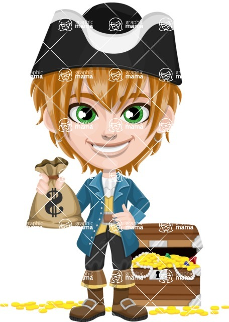 Pirate Boy Cartoon Vector Character AKA Willy - Treasure chest and bags of money