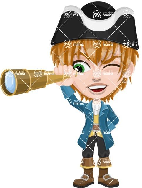 Pirate Boy Cartoon Vector Character AKA Willy - Spy glass