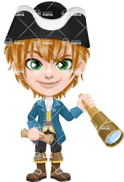 Pirate Boy Cartoon Vector Character AKA Willy - Map and Spy glass