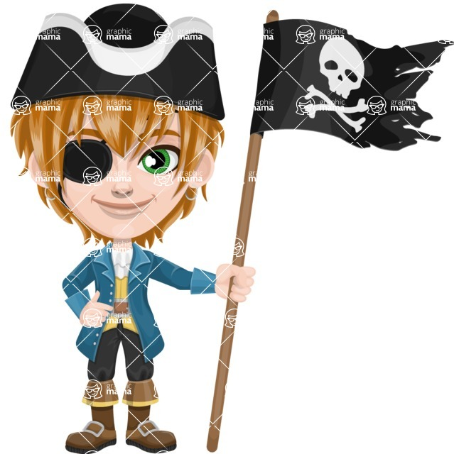 Pirate Boy Cartoon Vector Character AKA Willy - Pirate flag
