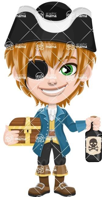 Pirate Boy Cartoon Vector Character AKA Willy - Treasure chest and Rum
