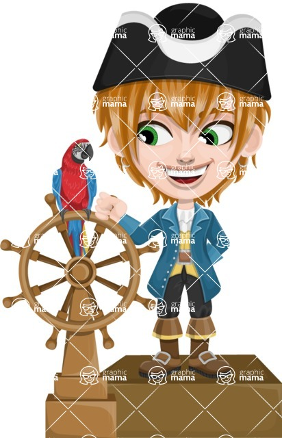 Pirate Boy Cartoon Vector Character AKA Willy - Ship wheel and Parrot