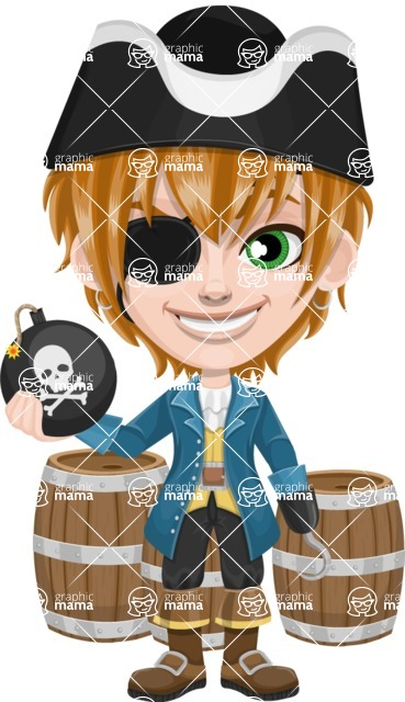 Pirate Boy Cartoon Vector Character AKA Willy - Barrels and Bomb