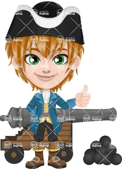 Pirate Boy Cartoon Vector Character AKA Willy - Cannon with cannon balls