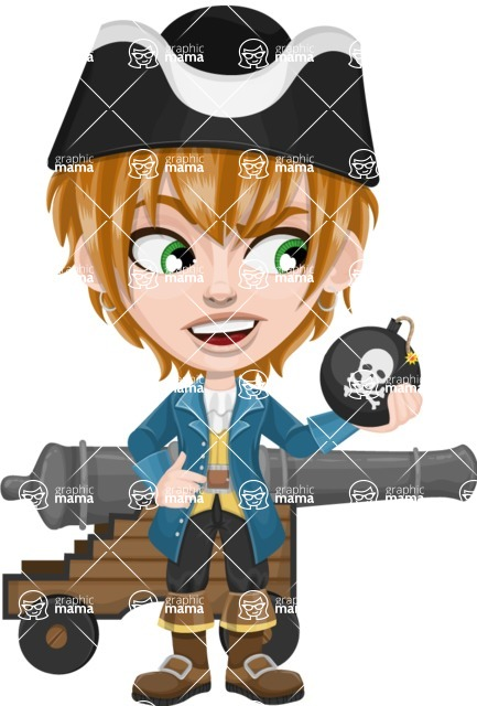 Pirate Boy Cartoon Vector Character AKA Willy - Cannon and Bomb