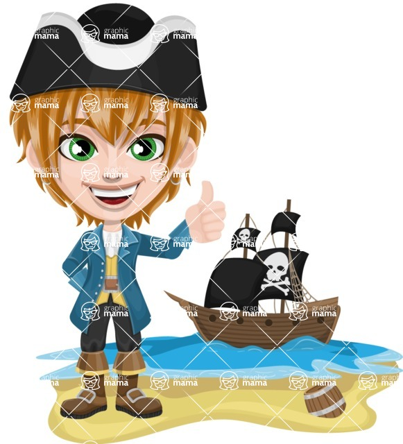Pirate Boy Cartoon Vector Character AKA Willy - Pirate ship at sea
