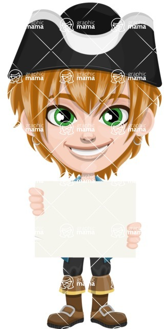 Pirate Boy Cartoon Vector Character AKA Willy - Sign 2