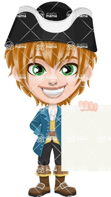 Pirate Boy Cartoon Vector Character AKA Willy - Sign 3
