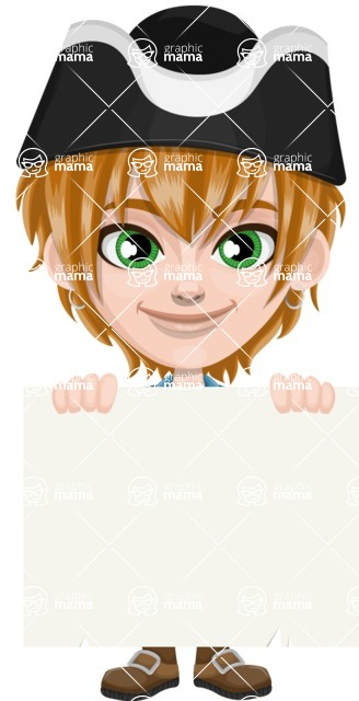 Pirate Boy Cartoon Vector Character AKA Willy - Sign 5