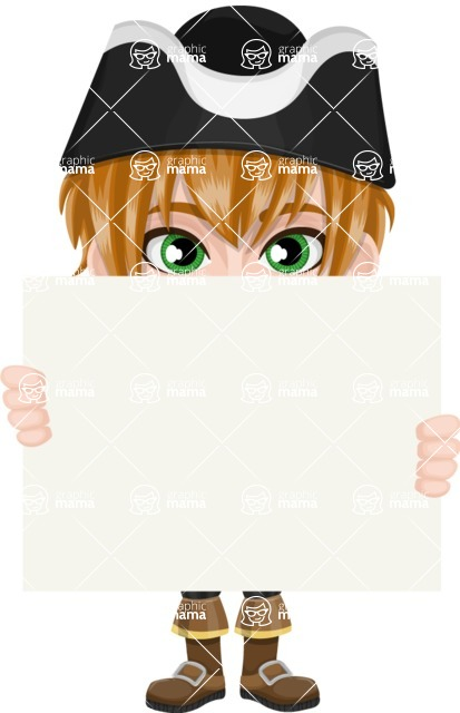Pirate Boy Cartoon Vector Character AKA Willy - Sign 6
